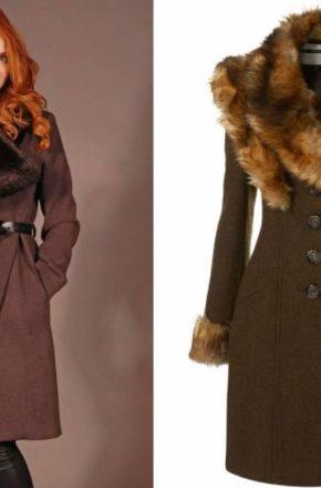 Для женщин зимнее пальто с меховым воротником.